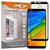 2X Protector de Pantalla 3D para XIAOMI REDMI 5 Plus, Negro, Protección Completa, 3D / 4D / 5D