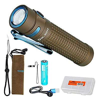OLIGHT S2R II (S2R Upgrade) 1150 Lumen Rechargeable LED Flashlight with Magnetic Charger, Rechargeable Battery and LumenTac Battery Organizer (Desert Tan)