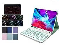 7カラーバックライト 可愛い 2020 iPad Pro 11 インチ iPad 9.7 10.2 10.5 キーボード ケース ペンホルダー付き iPad 7 6 5 Air Pro 10.5 9.7 キーボード付き アイパッド キーボード付き カバー 多彩 カラフルPODITAGI (iPadAir3/iPadPro10.5, 紫+白キーボード)