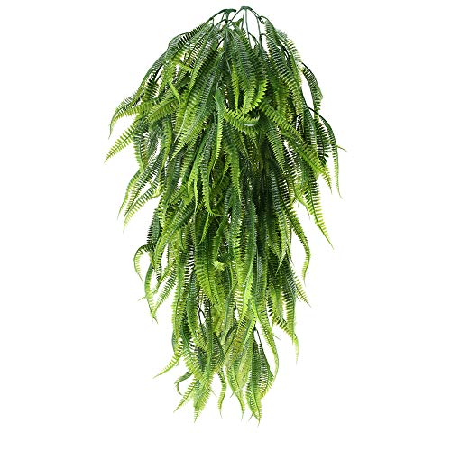 HUAESIN 2Pcs Artificial Plants Fake Hanging Ferns Plants Faux Silk Trailing Boston Fern Vine Foliage Greenery for Wall Indoor Outside Garden Wedding Home Office Hanging Basket Decor