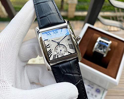 JFfactory Luxury Designer Brand Joker Leather Tank Watch Mens Square Automatic Mechanical Men Orologi Sapphire Glass Back Silver White