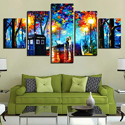 5 Piece Canvas Moderno Minimalista Van Gogh, Lámpara De Calle Peatonal, Lienzo Impreso, Mural, Artista, Hogar, Sofá, Pared, Pintura Trasera 30 * 40Cm*2P 30 * 60Cm*2P30 * 80Cm*1P Sin Marcort-40
