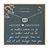 EFYTAL Mom Gifts, 925 Sterling Silver Small CZ Interlocking Circles Necklace for Mother & Daughter, Necklaces for Women, Best Birthday Gift Ideas, Pendant Mother's Jewelry For Her, Mothers Day
