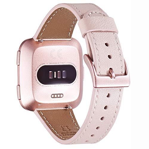 WFEAGL für Fitbit Versa Armband,Top Grain Lederband Ersatzband mit Edelstahl-Verschluss für Fitbit Versa/Versa 2 /Versa Lite/Versa SE Fitness Smart Watch(Rosa Sand+ Roségold Schnalle)