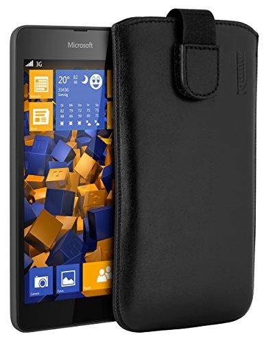 mumbi Echt Ledertasche kompatibel mit Microsoft Lumia 535 Hülle Leder Tasche Hülle Wallet, schwarz