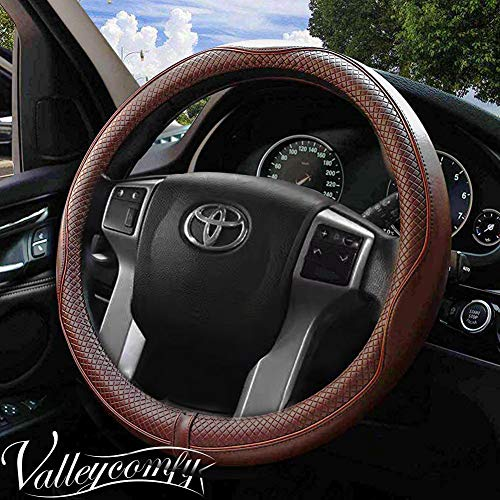 Valleycomfy 15.75 inch Auto Car Coffee Steering Wheel Covers-...