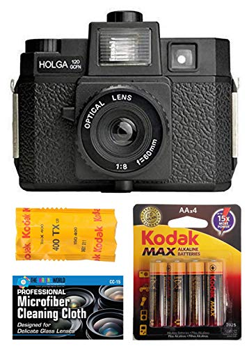 Holga 120GCFN Medium Format Film Camera with Built-in Flash with Kodak TX 120 Black and White Film Bundle with Accessories