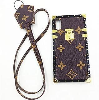 Jiehao iPhone 7 Plus / 8 Plus Case, Vintage Elegant Luxury Designer Monogram PU Leather Back with Lanyard Soft Bumper Shock Absorption Trunk Case for Apple iPhone 7 & 8 plus 5.5