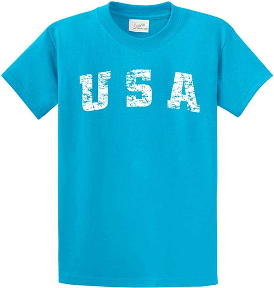Joe's USA -Tall Vintage USA Logo Tee T-Shirts in Size X-Large Tall -XLT Turquoise