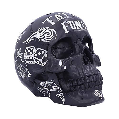 Nemesis Now Black and White Traditional, Tribal Fund Skull Tattoo-Fondschädel, Schwarz/Weiß, Polyresin, Einheitsgröße