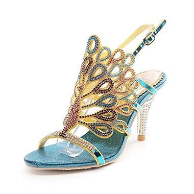 Honeystore Women's Peacock Shaped Pattern Handmade Rhinestone Sandals