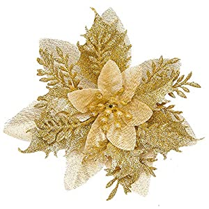 Zhuqing 15Pcs Christmas Poinsettia Artificial Flowers Decorations with Cilps, Glitter Poinsettia Christmas Tree Ornaments for Xmas/Wedding/Party/Holiday/Festival/Wreath/Garland Decor, 5.1 Inch Gold