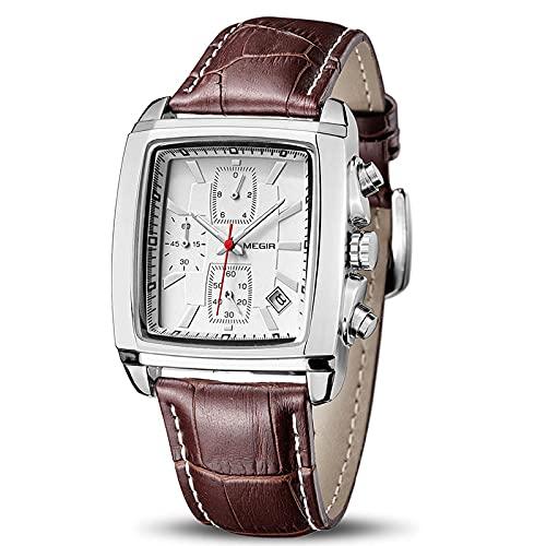 Hombres Top Marca de Lujo Rectángulo Cuarzo Militar Relojes Impermeable Luminoso Cuero Reloj de Pulsera, blanco,