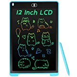Coolzon Tableta de Escritura Color LCD 12 Pulgadas, Pizarra Digital Infantil, Portátil Tableta Gráfica Dibujo Borrable para niños y Adultos con Botón de Bloqueo para Hogar Escuela Oficina, Azul