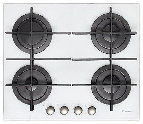 Candy CVG 64 STGB Plaque de cuisson à gaz encastrable Noir, Blanc, 595 x 510 mm