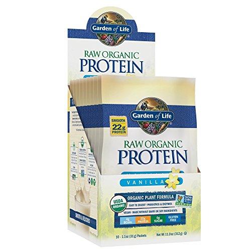 Garden of Life Raw Organic Protein Vanilla Powder Packets, 10ct Tray - Certified Vegan, Gluten Free, Organic & Non-GMO, Plant Based Sugar Free Shake with Probiotics & Enzymes, 4g BCAAs, 22g Protein