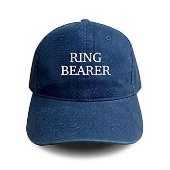 Ring Bearer Embroidered Baseball Hat Wedding Unisex Size Adjustable Strap Back Soft Cotton Navy