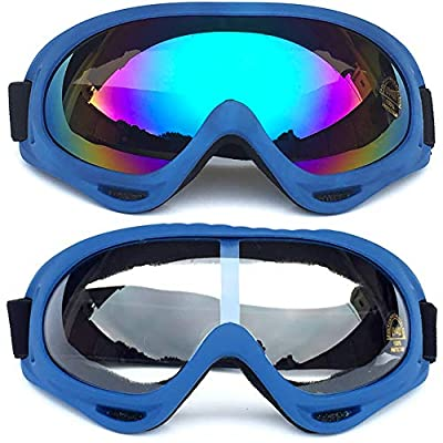 Peicees 2/4 Pack Ski Goggles Winter Snowboard Adjustable UV 400 Protective Motorcycle Snow Goggles Outdoor Sports Tactical Glasses Dustproof Military Sunglasses for Kids Boys Girls Youth Men Women