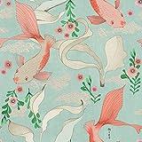 Rasch Papel pintado 539837 de la colección Amazing con carpas Koi en color rosa en agua azul claro con estructura textil ligera – 10,05 m x 53 cm