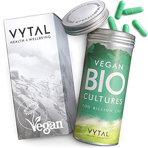 Vegan Bio Cultures Complex Probiotic Supplement Digestive Enzyme Supplements | 120 High Strength Time Release Probiotic Capsules | 200 Billion CFU with 5 Bacteria Strains | Probiotics for Women + Men
