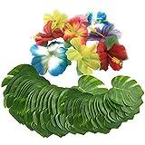 Lezed Hojas de Palmera Artificiales Hojas de Monstera y Flores de Hibisco Decoración de Fiesta Tropical (48 Flores y 24 Hojas)