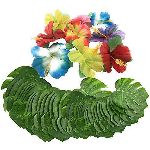 Lezed Tropical Party Dekoration Liefert Monstera Blätter Simulation Hibiscus Blumen Künstliche Blätter Tropical Palm für Hawaii Party Jungle Beach Tischdekoration (72 Stück)