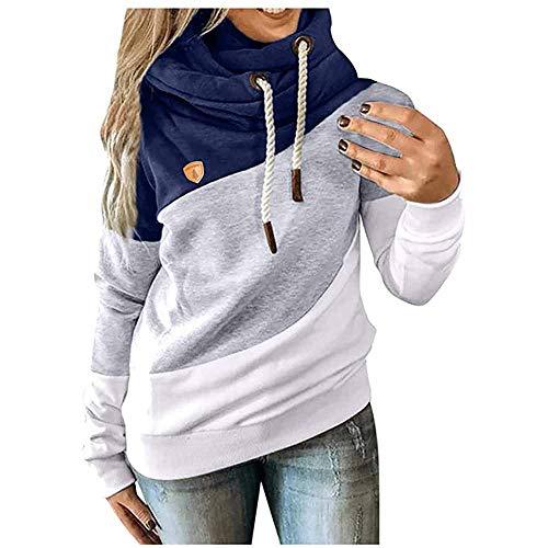 CawBing Frauen Color Block Hoodies Lässig Winter Warm Pullover Damen Langarm Tops Blau L