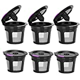 Reusable K CUPS, Reusable K CUP Coffee Filter Refillable Single K CUP for Keurig 2.0 1.0 BPA Free-6 Packs