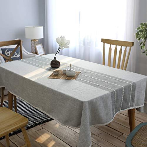 Mantel De Algodón Y Lino A Rayas Simple Paño A Prueba De Polvo, Dormitorio, Comedor, Mesa De Café Decoración De Escritorio 120 * 170cm Gris