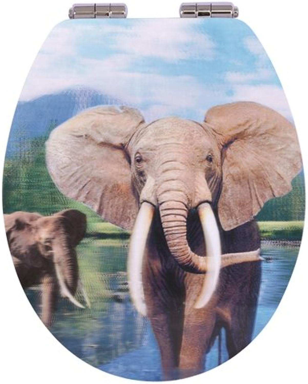 TrendLine WC-Sitz Elefant 3D-Design Motiv Toilettensitz Toilettendeckel B07P7542R3