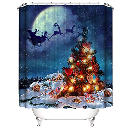 HIFUAR Christmas Shower Curtain Set Waterproof...