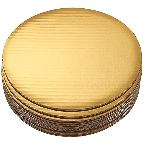 10' Round Cake Boards - 12-Pack Cardboard Scalloped Cake Pizza Tart Circle Base Stands - 10 Inches Diameter, Gold Metallic