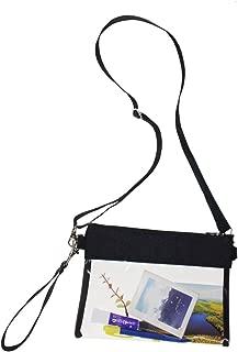 Clear Crossbody Purse Bag NFL Stadium Approved Transparent Shoulder Bag See Through Gym Zippered Tote Bag with Adjustable Shoulder Strap and Wrist Strap for Work Sporting Event(Black)