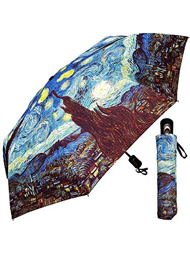 "RainStoppers Umbrellas Umbrella - Fine Art Design: Starry Night by Van Gogh - 42"" - with Matching case, Multi (W3523STARRY)"