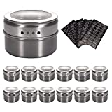 Aylson 12 Magnetic Spice Tins, Stainless Steel Storage Spice Containers Magnetic on Fridge, Spice Jar rack Organizers. Includes 120 Spice Labels