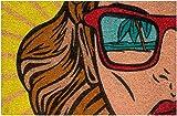Zerbino da Esterno in Cocco con Base in PVC Dipinto a Mano Raffigurante Pop Art Beach 60X40X2 cm. Facile da Pulire e Ultraresistente