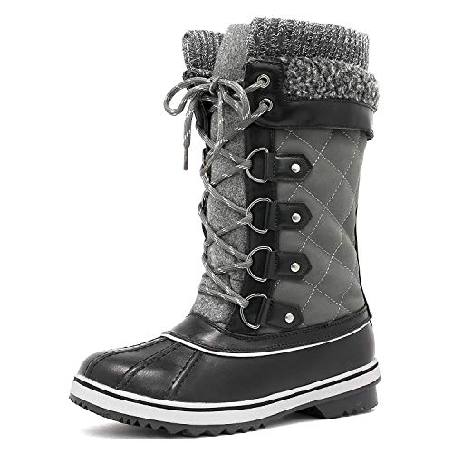DREAM PAIRS Women's Monte_02 Grey Mid Calf Winter Snow Boots Size 5 M US