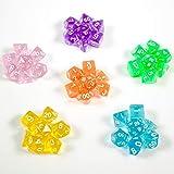 shibby 42 Dados poliedricos 6 Colores Transparentes y Bolsa – Juego de rol Dungeons & Dragons D&D, Rosa/Morado/Verde/Naranja/Amarillo/Azul, 60015387