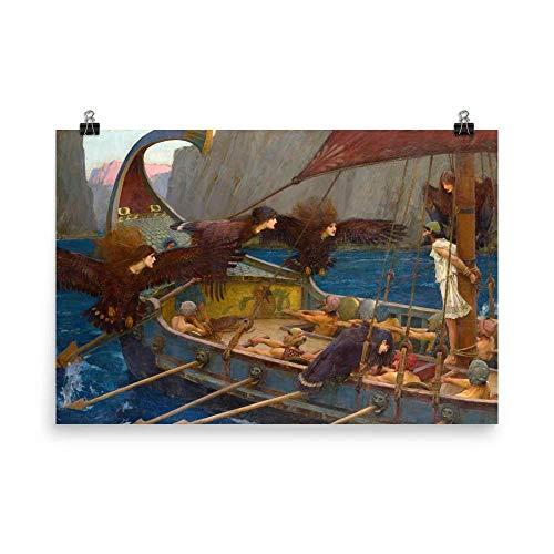 Retrograde Ink John William Waterhouse - Ulysses and The Sirens - pre Raphaelite Painting Vintage Wall Art Hanging Greek Mythology illiad The Odyssey Homer