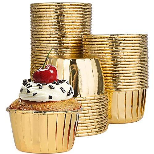 50 Stück Muffin Cupcake Förmchen Muffin Formen Muffinförmchen Papier Backförmchen Cupcake Runde Kuchen Backförmchen aus Aluminiumfolie für Muffins und Cupcakes für Party, Hochzeit, Geburtstag (Gold)