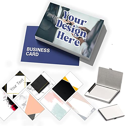 Custom Business Cards with Your Logo Personalized Business Cards Add Photo Text Print Your Own Business Cards On Front and Back Sides-100pcs-Without card case-