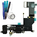 XMITEC Dock Connector für iPhone SE - USB Ladebuchse Audio Jack Flex-Kabel, schwarz/grau