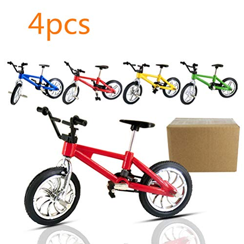 HEITIGN 4 Pcs 1:18 Bicycle Models Toy, Simulation Miniature Finger Mountain Bike Model Toy, 242pcs Folding Bicycle Building Blocks Brick Toy Educational Assembly Collection Toys Kids Childrens Gift