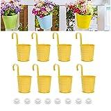 AIFFERA - Vaso da fiori da appendere, in metallo, per ringhiere, balcone, giardino, decorazione per la casa, con ganci staccabili, colore: giallo, 15 cm