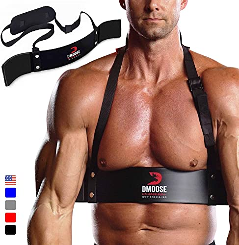 DMoose Arm Blaster for Biceps Triceps Bodybuilding Muscle Strength Gains Workout Equipment Training Contoured Bicep Blaster Isolator Preacher Curling Weight Lifting Adjustable Strap Neoprene Padding