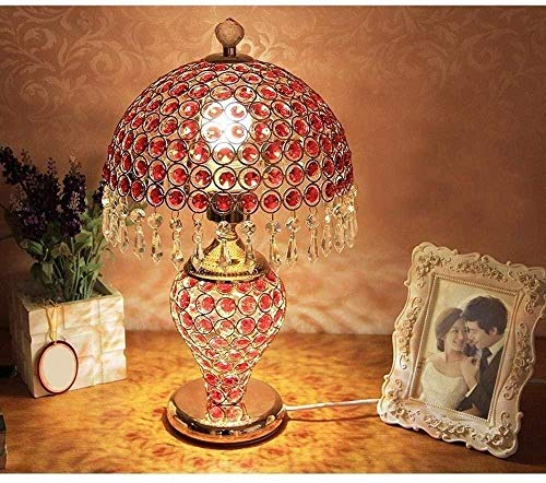 Lámpara De Escritorio De LED De Cristal Europeo Europeo Duradero con Cuerpo De Cristal Completo Y Interruptor De Botón para Dormitorio Decoración De Sala De Estar Roja Hyococ