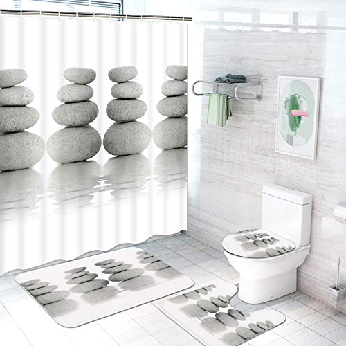 TAMOC 4 Pcs Zen Stone Shower Curtain Set with Non-Slip Rug, Toilet Lid Cover and Bath Mat, Grey and White Shower Curtain with 12 Hooks, Meditation Peaceful Bathroom Curtain, Stone Reflection