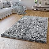 TT Home Hochflor Teppich Grau Wohnzimmer Shaggy Langflor Moderne Einfarbige Muster, Farbe:Grau 2, Größe:140x200 cm