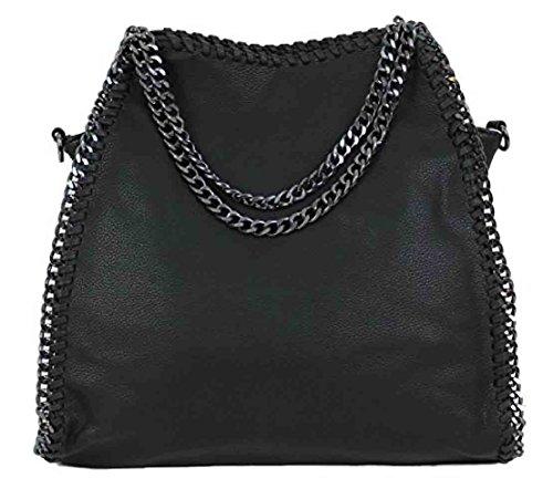 Anush Handtasche VIVIEN Lederlook Damen Shopper Beuteltasche mit Kette (Schwarz002)