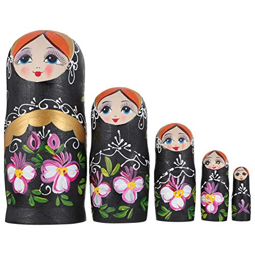 FOMIYES 1 Set of 5 Layers Russian Nesting Dolls Matryoshka Wood Stacking Nested Handmade Toys for Children Kids Christmas Mothers Day Birthday Home Room Decoration Halloween Wishing Gift